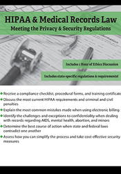 Image ofHIPAA & Medical Records Law: Meeting the Privacy & Security Regulation